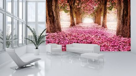 Pink trees Alley wallpaper mural